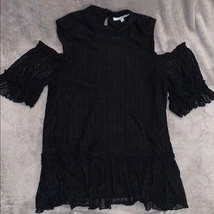 Black lace cold shoulder top